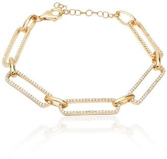 GABIRIELLE JEWELRY 14K Gold Vermeil Cubic Zirconia Pave Link Bracelet