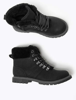 Marks and Spencer Kids' Faux Fur Lined Hiker Boots (13 Small - 6 Large)