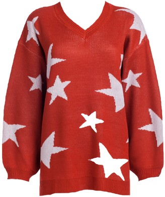 Goodnight Macaroon 'Jennifer' Star Print V-neck Long Sweater (2 Colors)