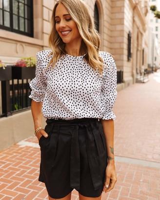 The Drop Women's White/Black Polka-Dot Smocked Cuff Top by @fashion_jackson S