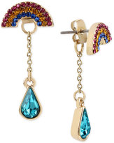 Betsey Johnson Gold-Tone Crystal Rainbow & Raindrop Ear Jacket Earrings