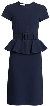 Michael Kors Belted Peplum Midi Dress