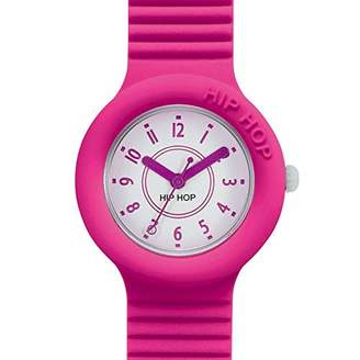 Hip Hop Watches - Ladies Watch Fucsia Purple HWU0629 - Numbes Collection - Silicone Wrist Strap - Waterproof Up to 5 ATM - 32mm Case - Bright Pink