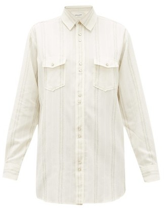Saint Laurent Metallic-stripe Flap-pocket Shirt - Womens - Ivory