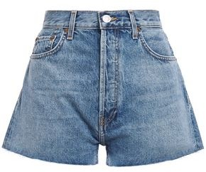 RE/DONE Frayed Faded Denim Shorts