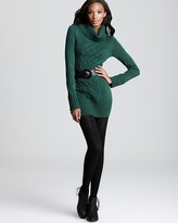 Aqua Sweater - Belted Turtleneck Cable Tunic