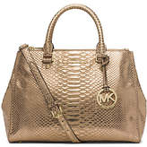 Michael Kors Sutton Medium Embossed-Leather Satchel