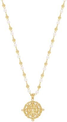 Ettika Imitation Pearl Beaded Charm Pendant Necklace