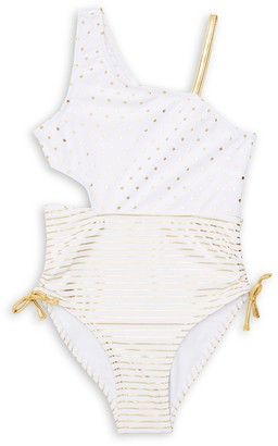 Flapdoodles Little Girl's One-Piece Dotted & Striped Swimsuit