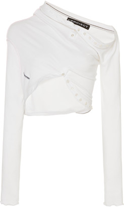 Y/Project Draped Cropped Cotton-Blend Top