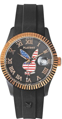 Playboy USA38BG-America Unisex Watch Analogue Quartz Black Dial Black Silicone Strap