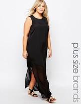 Junarose Sleeveless Sheer Hem Maxi Dress
