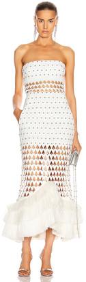David Koma Plexi Triangle Strapless Flounce Dress in White | FWRD