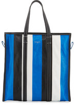 Balenciaga Bazar Medium Striped Leather Shopper Tote Bag, Bleu/Blanc/Noir