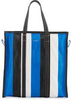 Balenciaga Bazar Medium Striped Leather Shopper Tote Bag