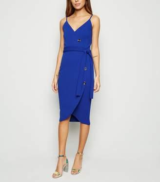 New Look AX Paris Bright Button Wrap Dress