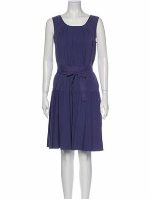 Prada Scoop Neck Knee-Length Dress Purple
