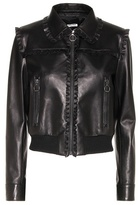 Miu Miu Ruffle-trimmed leather jacket