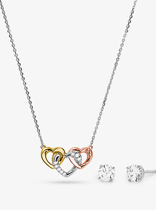 Michael Kors Precious Metal-Plated Sterling Silver Pave Heart Necklace and Stud Earrings Gift Set