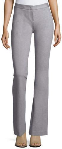Derek Lam Flat-Front Flared Pants, Heather Gray