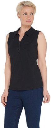 Denim & Co. Essentials Sleeveless Polo Top with Front Pocket