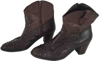 Non Signé / Unsigned Non Signe / Unsigned Brown Python Ankle boots
