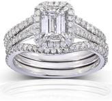 Kobelli Jewelry Kobelli 1 3/4 CT TW Emerald-Cut Diamond 14K White Gold 3-Piece Halo Bridal Set