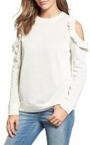 Women's Caslon Ruffle Trim Cold Shoulder Sweatshirt