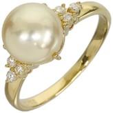 Mikimoto 18K Yellow Gold 0.01 Ct Pearl & 0.08 Ct Diamond Ring Size 5