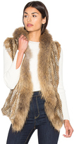 Heartloom Lara Rabbit & Asiatic Raccoon Fur Vest in Brown
