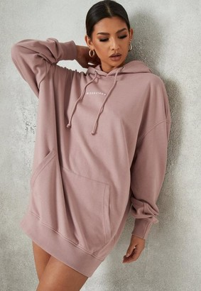Missguided Mauve Oversized Hooded Brushed Back Sweater Dress