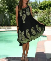 Ananda's Collection Women's Casual Dresses Black - Black & Green Paisley Embroidered Shift Dress - Women