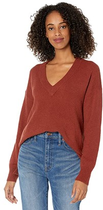 Madewell Bartlett V-Neck Pullover Sweater in Coziest Yarn (Burnished Mahogany) Women's Clothing