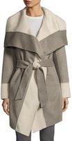 Diane von Furstenberg Mackenzie Wool-Blend Colorblock Wrap Coat, Taupe