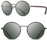 Shwood Women's Hawthorne 50Mm Acetate Sunglasses - Black Chrome/ Mahogany/ G15