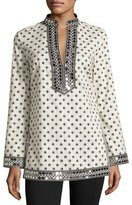 Tory Burch Fish-Print Sequined-Trim Tunic, Ivory