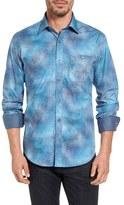 Bugatchi Men's Shaped Fit Splatter Print Sport Shirt