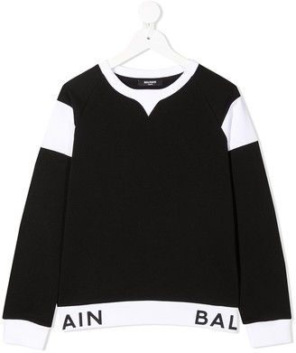 Balmain Kids Two-Tone Logo Waist Sweater