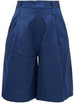 STAUD Noah Cotton-blend Charmeuse Shorts - Womens - Dark Blue