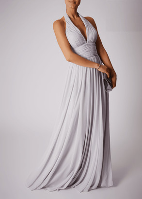 Mascara London Halter Neck V Ruched Chiffon Dress