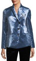 Brunello Cucinelli Asymmetric Button-Front Velvet Jacket