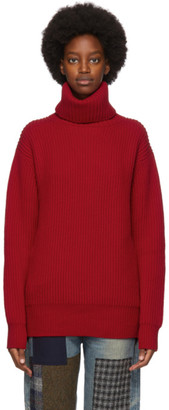 Junya Watanabe Red Wool Turtleneck Sweater