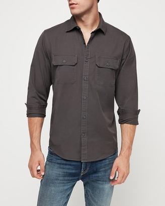 Express Slim Twill Western Shirt