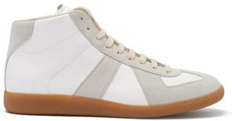 Maison Margiela Replica High-top Leather And Suede Trainers - White