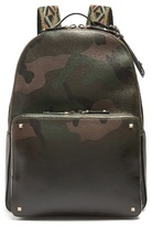 Valentino Camouflage-print Grained-leather Backpack