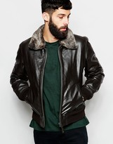 Schott Leather Bomber Jacket With Faux Fur Collar