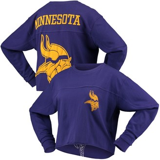G Iii Women's G-III 4Her by Carl Banks Purple Minnesota Vikings Flight Song Crop Long Sleeve T-Shirt