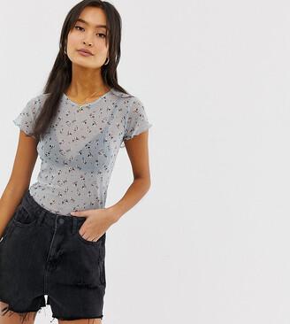 New Look frill hem mesh t-shirt in floral print