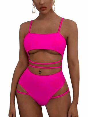 MOPOOGOSS Bikini Swimwear for Women Sexy Tank Crop Top Spaghetti Cutout Straps Brazilian Style Underboob High Cut Cheeky Thong Bottom One Piece Swimsuit Beachwear Rose Red L