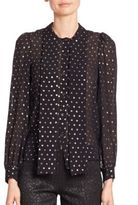 Michael Kors Tie Neck Polka Dot Silk Blouse